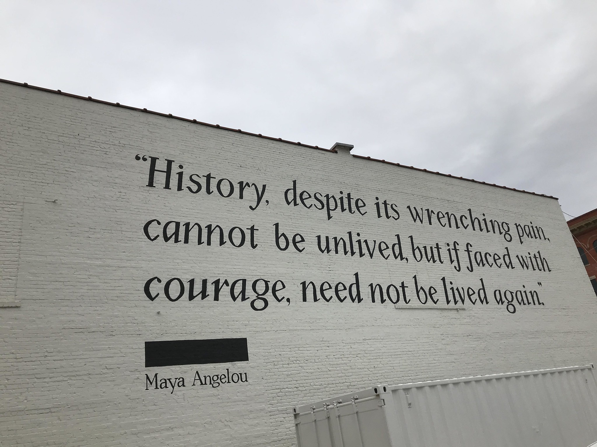 Quote by Maya Angelou printed on wall