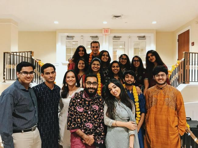 A great picture of Davidson students celebrating Diwali, the Festival of Lights