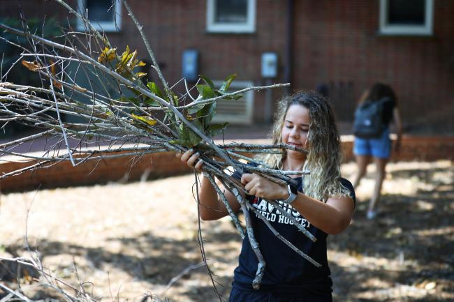 student picking up branches after Hurrican Florence