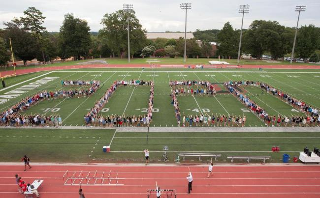 2020 spelled out by students on the football field