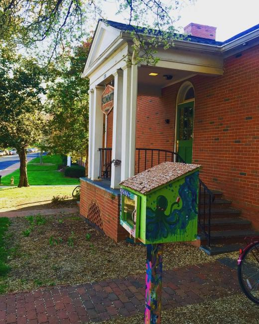 Fun photo of a LFL on Davidson College's campus near their coffee shop