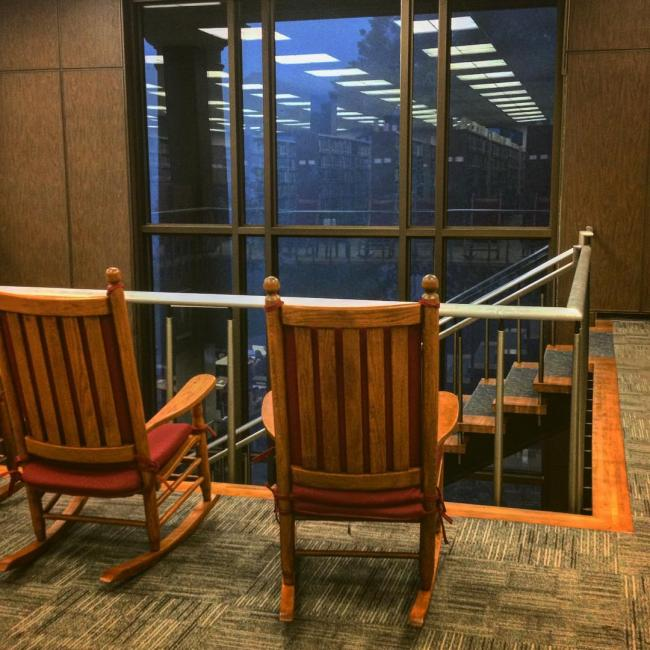 library has rocking chairs for the exclusive purpose of watching thunderstorms