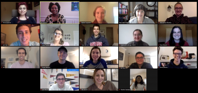 Collection of Zoom squares with smiling members of the College Advising Corps