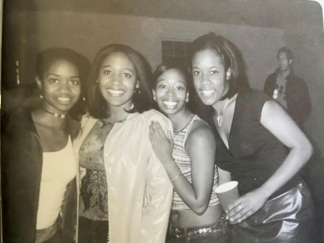 Johnson '02 (second from right) with friends at Davidson