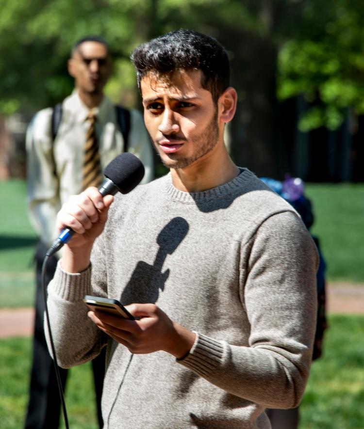Muslim Student Association Member talks at campus event