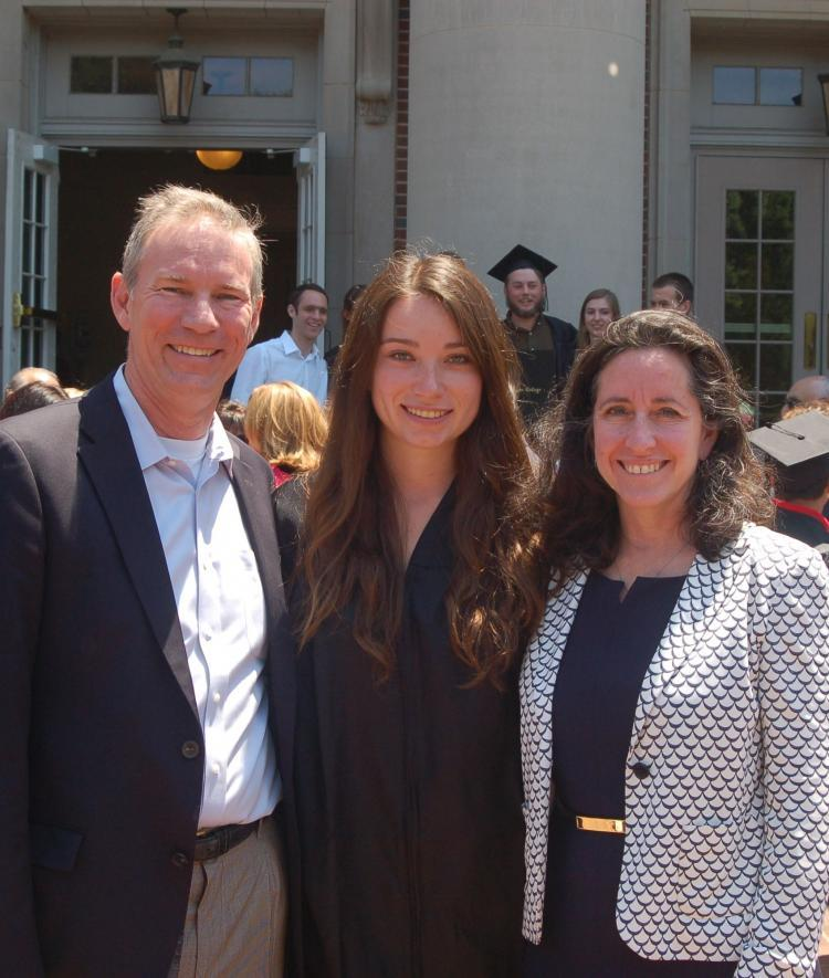 Katie Layendecker, Class of 2015, and her parents, who established the Internship Fund.