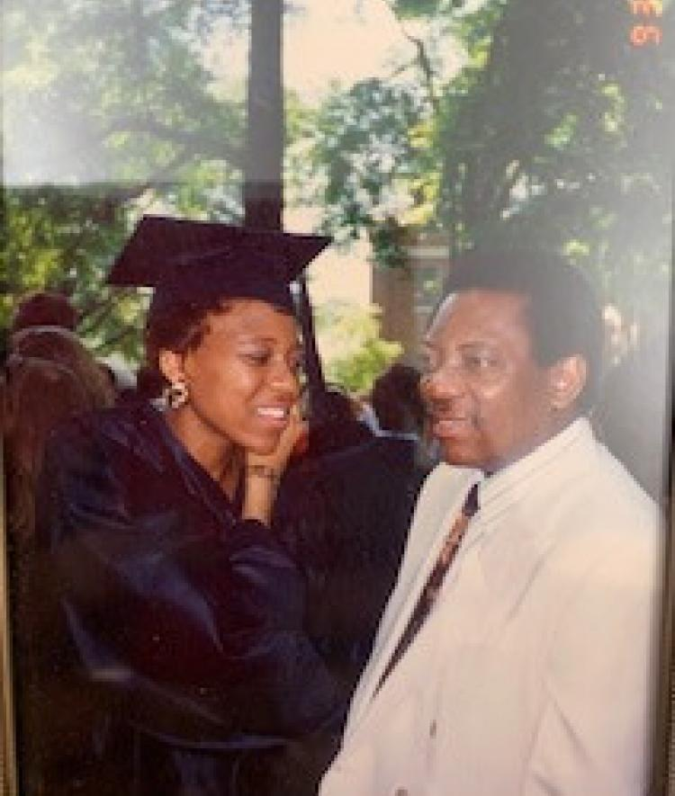 Sweeting '93 with her father on Commencement Day 2003