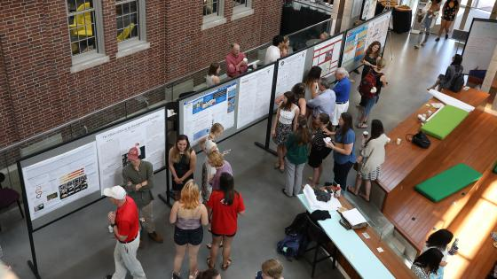 Bird's eye view of students giving presentations of research at the Symposium
