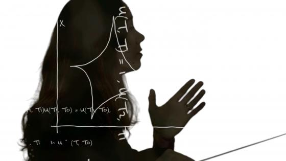 Music conductor with math equations overlaying her silhouette