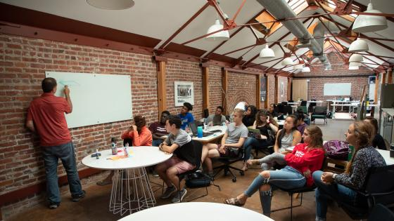 Davidson College students operate out of meeting space in Silicon Valley
