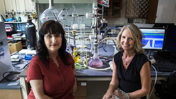 Cindy Hauser and Karen Bernd in the Lab