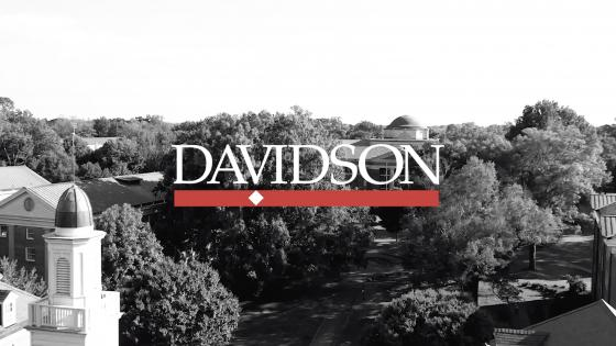 Aerial View of Davidson Campus with Overlaid Davidson Logo