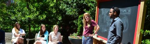 Students in an outdoor classroom