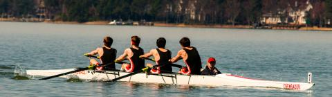 Crew team rows on Lake Norman