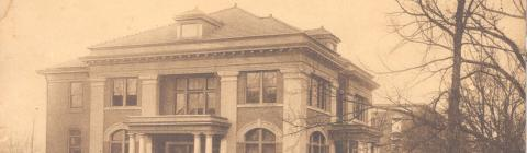 Vintage shot of the Davidson Carnegie Guest House, once the campus library