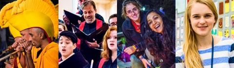 Collage of images including Tibetan Monks, Christmas Vespers service, Diwali candle lighting, and Stapleton-Davidson intern