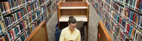 Student sits in carrel surrounded by books