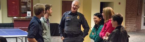 Chief Siegler has a friendly chat with students