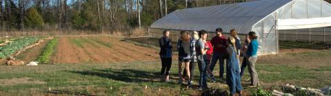 Students gather at farm outside the greenhouse