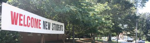 Welcome Students Banner on campus