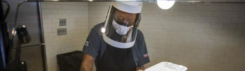 Dining Services employee with mask