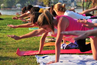 Students take yoga positions on mats laid out on the grass of Lake Campus