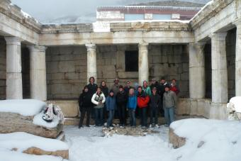 Snow at Sagalassos Students with Prof. Krenz