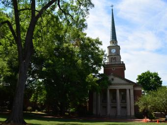 Davidson College Presbyterian Church steeple through the trees