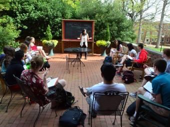 Students in Outdoor Classroom with Prof Rosalba Scott