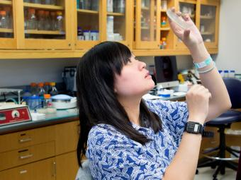 Grace Li' holds a plate of bacteria in the air and looks at it through the light