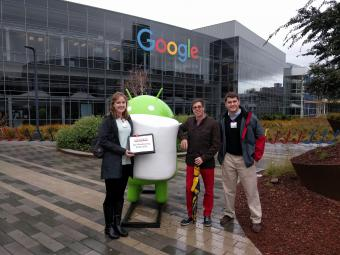 Brady Logan '19 Allison Cowie '18 Clayton Schloss '99 in front of Google
