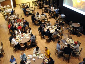 View of tables in commons from above