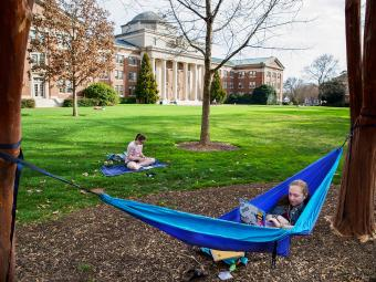 Students studying in front of Chambers, one student in a hammock