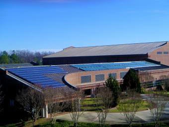 View of the top of Baker Sports Complex highlighting its solar panels