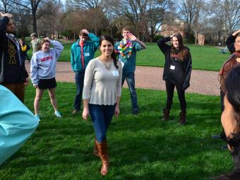 Chidsey Leadership Fellows play ice breaker games on Chambers Lawn