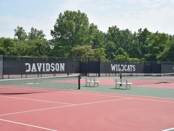 Tennis courts that are branded with Davidson Wildcats