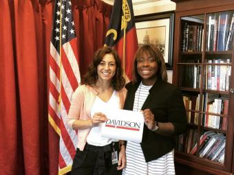 Internship at House of Representatives where Davidson student and alum pose for a photo
