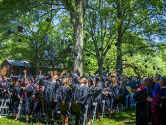 Graduates of the Class of 2019 throw their caps in the air