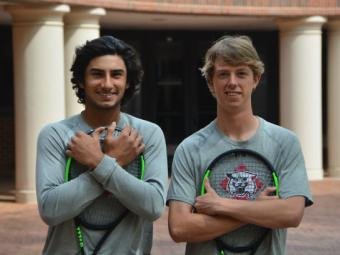 Sam Kavarana and Brooks Green holding tennis rackets