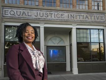 Kiara Boone '11 outside of the Equal Justice Initiative Building