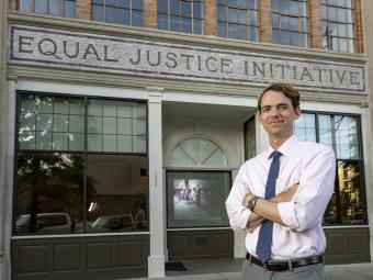 Mickey Hubbard '08 outside of the Equal Justice Initiative building