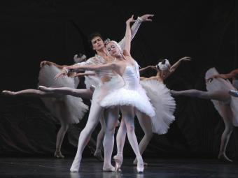 Russian National Ballet performs Swan Lake on stage