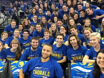 Steph Curry and Chorale at arena