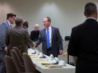 Rep Greg Murphy shaking hands