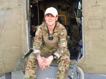Chief Warrant Officer 3 Emily King '09 aboard her Chinook helicopter in eastern Afghanistan