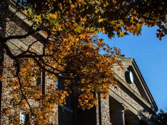 Chambers Building with Blue Sky and Fall Leaves