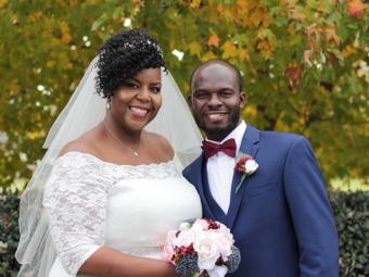 Singleton and Nyame at their November 2019 wedding in Charlotte.