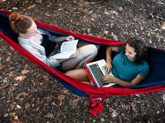 Students on Hammock Reading and Studying