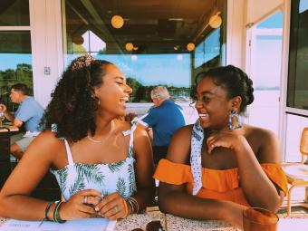 Niara Webb and Zoe Hall out dining