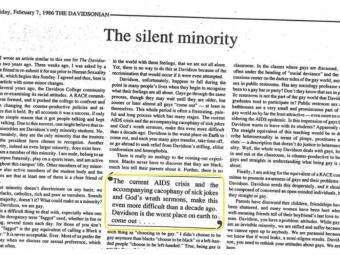 The Silent Minority Davidsonian Article 1986